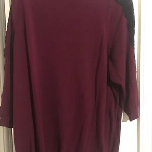 Lane Bryant 3/4 Sleeve Burgundy Sweater